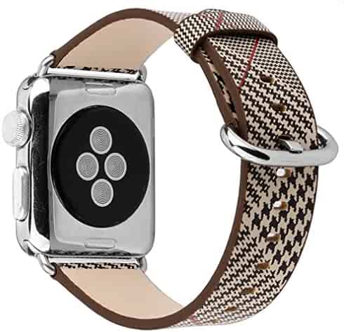Juzzhou Watch Band For Apple Watch iWatch Replacement Leather 38mm or 42mm All Model With Metal Adapter And Adjustable Buckle