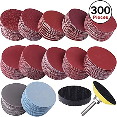 SIQUK 300 Pcs 2 Inch Sanding Discs with 1 pc 1/4 Inch Shank Backing Pad and 1 pc Soft Foam Buffering Pad 80 180 240 320 400 600 800 1000 2000 3000 Grit