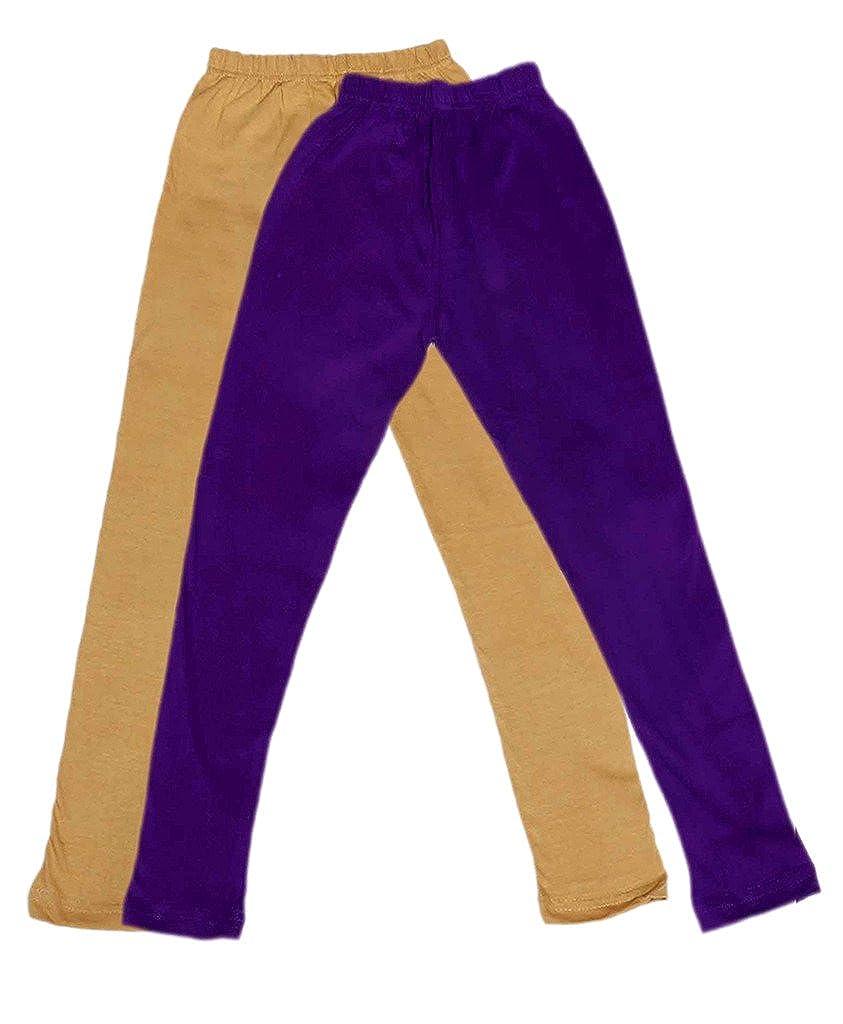 Pack of 2 Indistar Girls Super Soft Ankle Length Cotton Lycra Leggings /_Beige::Purple