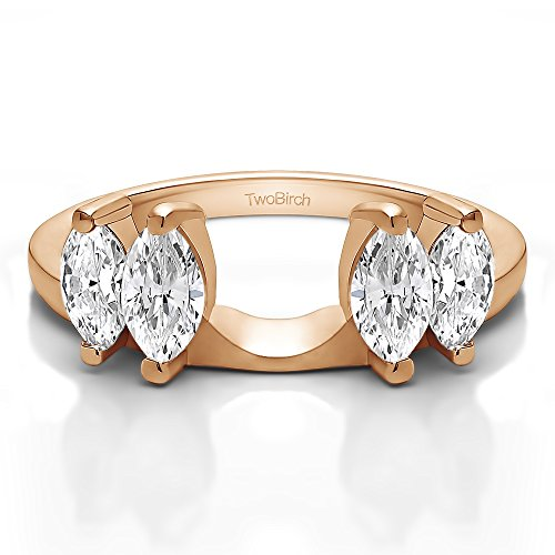 Diamond Marquise Solitaire Enhancer Ring Wrap 10K Gold GH SI2 I1(0.28Ct) Size 3 To 15 in 1/4 Size Interval