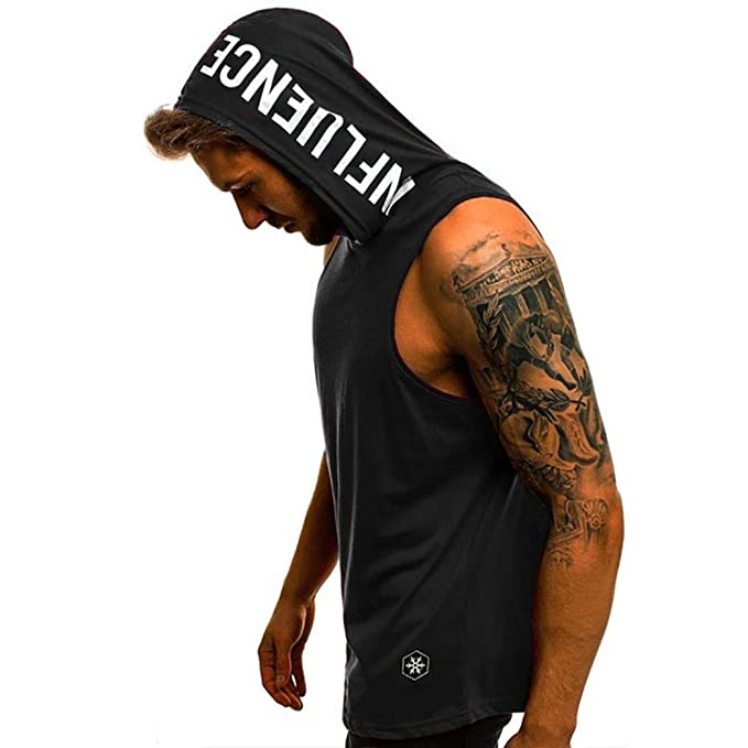 80422e4ac0ee4 Forthery Men s Workout Hooded Tank Top Shirt Letter Sleeveless Pullover  Hoodie Gym Vest Shirts US S