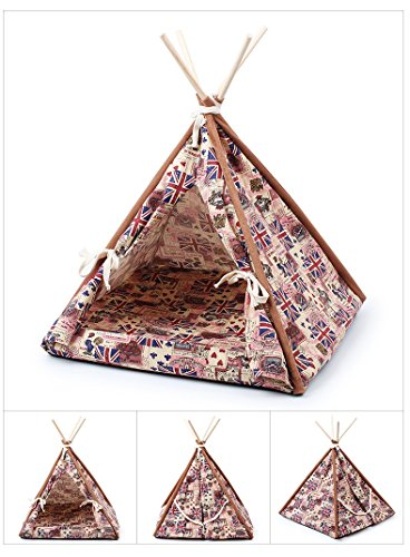 Stock Show 1Pc Removable Washable Wood Frame Canvas Tent Teepee Pet Mat Bed House Hut Portable Pet Supplies for Dog Puppy Cat Kitty Kitten