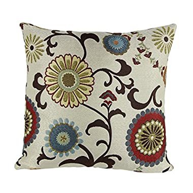 Puredown Jacquard Toss Pillow Case Home Throw Pillow Covers Floral Pattern Square 18X18 Inch Multicolor