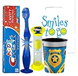 Police Man Inspired 4pc Bright Smile Oral Hygiene Bundle! Light Up Toothbrush, Toothpaste, Brushing Timer & Mouthwash Rise Cup! Plus Dental Gift Bag & Tooth Saver Necklace!