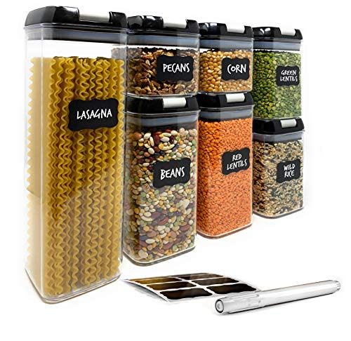 Airtight Food Storage Containers by Simply Gourmet. 7-Piece Kitchen Storage Containers BPA Free + FREE Chalkboard Labels & Marker. Airtight Storage Containers Storage Set for pantry organization