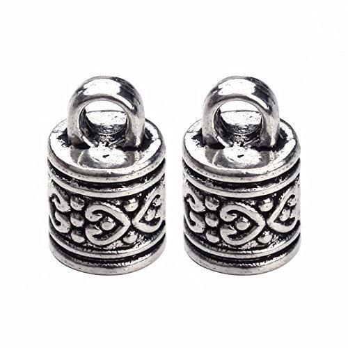 Antique Silver Copper Leather 10pcs Hole Size 7.5mm Cord End Caps Connectors For Bracelet Jewelry Making