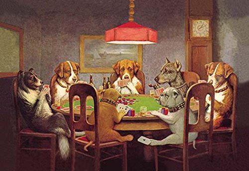 Buyenlarge 'Passing The Ace Under The Table-Dog Poker' Paper Poster, 20 by 30-Inch ()
