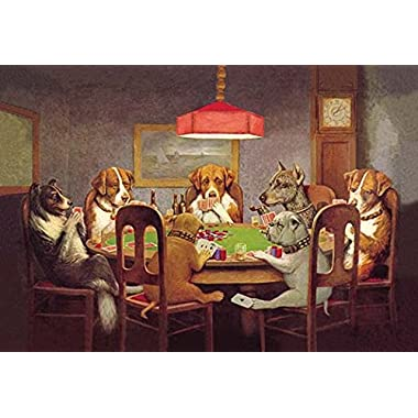 Buyenlarge Passing The Ace Under The Table (Dog Poker) - Gallery Wrapped 28 X42  canvas Print., 28  X 42