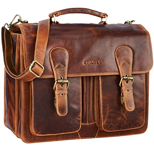 STILORD  Karl  Portfolio Leather Large Briefcase Genuine Leather Men  Teacher s Bag School Satchel Shoulder Bag Classic Vintage Business Work Bag fca9b2cc0e6c3