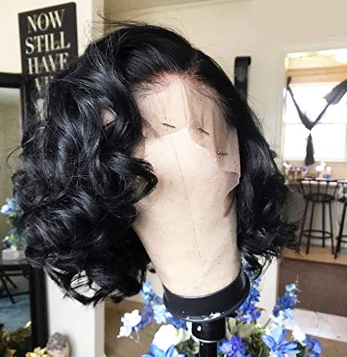 (Andrai Hair Wavy Wig Lace Front Wigs Glueless Short Bob Body Deep Wave Narutal Color Synthetic Heat Resistant Fiber Water Wave Hair Wig With Baby Hair For Black Women)