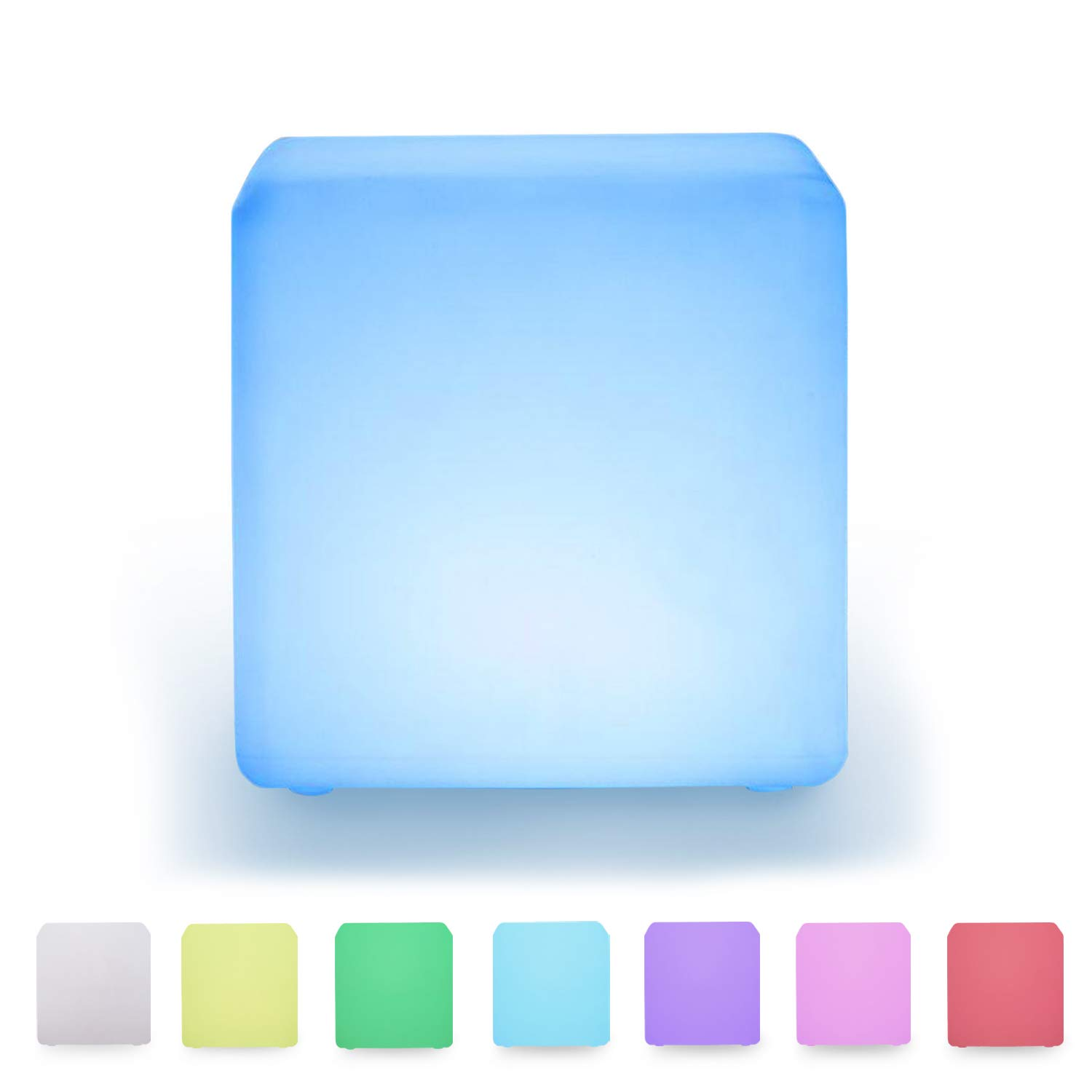 LOFTEK LED Light Cube: 16-inch Light Cube Seats, Color Changing Kid's Stool, Rechargeable and Cordless Bar Table,UL Listed Adapter, 4400mAh Capacity, for Sensory Education, Party Decoration