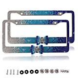 Purely Handmade Fashion Gradient Blue Bowtie Bling Crystal Car License Plate Frame Cute Waterproof Rhinestone SUV License Plate Holder Stainless Steel Truck Plate Frame(2 Frames)