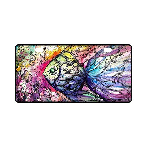 (Watercolor Shoal of Fish on Coral Reef Heavy Duty Metal Chrome License Plate Cover for Car Front Back Decor Vanity Tag Gift)