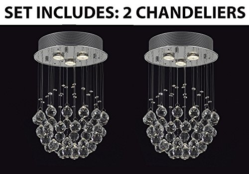 Set of 2 - Modern Chandelier Rain Drop Lighting Crystal Ball Fixture Pendant Ceiling Lamp H18 X W12, 3 Lights, Free Shipping