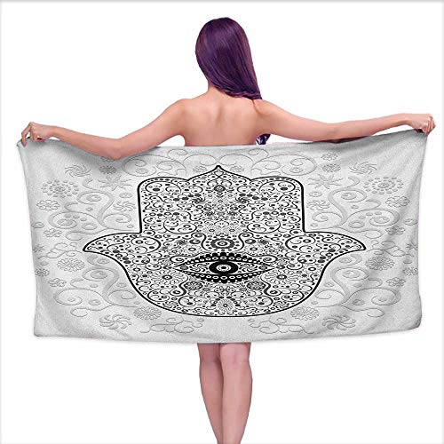 Andasrew Bath Towel Sets Prime Hamsa,Divine Protection Magical Good Luck Charm on Gentle Floral Spring Backdrop, White Black Gray,W10 xL39 for Youth Girls ()