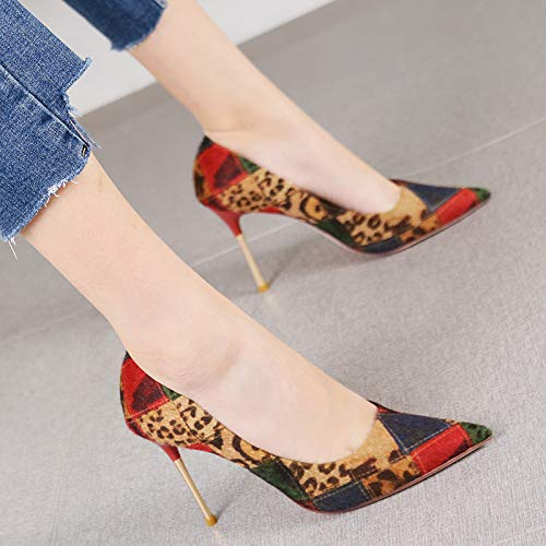 HRCxue Pumps Sexy Farbabstimmung Persönlichkeit National Wind Spitz Stiletto Heels einzelne Schuhe Damenschuhe, 35, rot