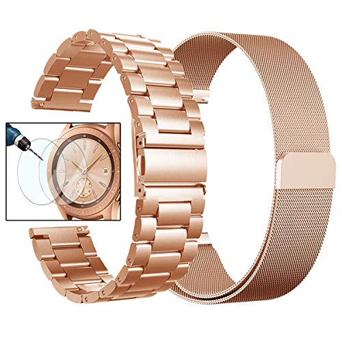 (Valkit for Galaxy Watch (42mm) Bands, Rose Gold Sets, 20mm Stainless Steel Band + Milanese Loop Mesh Strap Replacement Metal Band Bracelet Sets, Compatible Samsung Galaxy Watch 42mm, 2-Pack, Rose Gold)