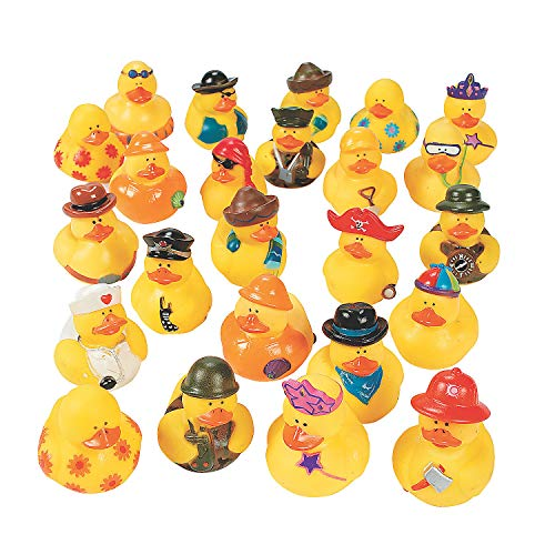 12 Assorted Pieces Fun Express Floating Rubber Duckies
