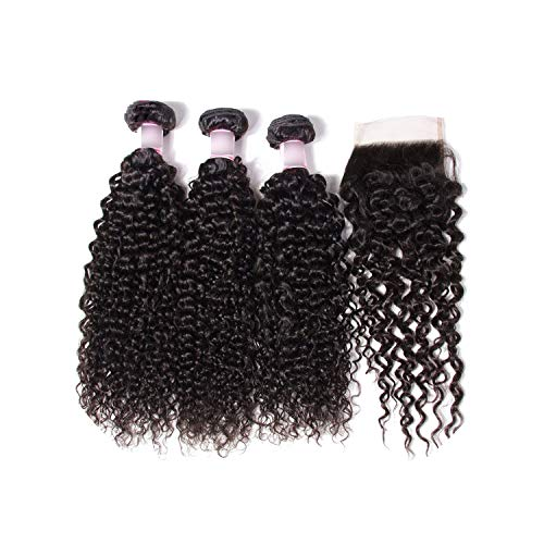 Malaysian Curly Human Hair Bundles With Closure 44 Closure Free/Middle/Three Part 100% Remy Hair Extension,18 & 20 & 22 & Closure 16,Three Part