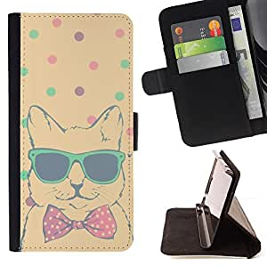Jordan Colourful Shop - Teal Polka Dot Cool Cat Bowtie Shades For Apple Iphone 6 - Leather Case Absorci???¡¯???€????€????????&