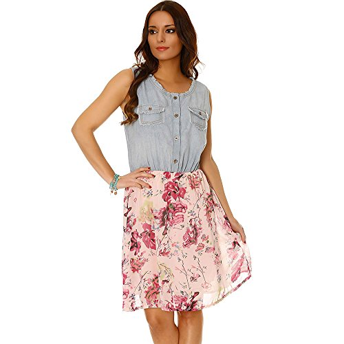 Miss Wear Line - Robe bimatière en jeans et en voilage motif fleur rose