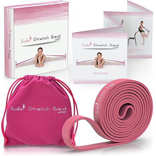 My Way Fitness Ballet Stretch Band by MWF - Perfect for Ballet, Dance, Gymnastics and Ice Skating - Premium Gift Box, Velvet Bag and Guide Included - Pink