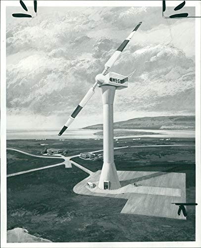 Vintage photo of Windmill for Orkneys power plan.