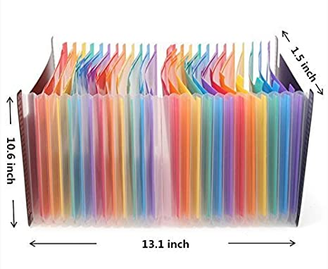 Amazon.com : 24 Pockets Expanding Files Folder Portable Accordion File Folder High Capacity Multicolour Stand Plastic A4 Business File Package Organizer Bag ...