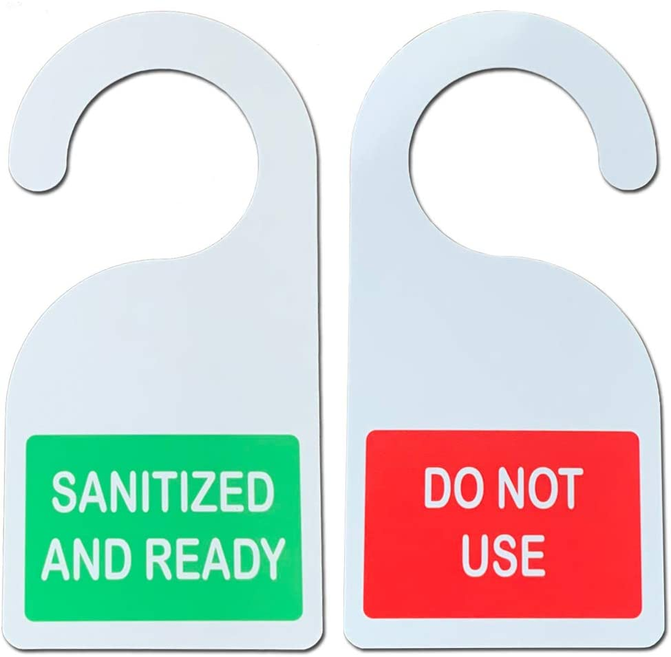 NapTags Sanitized/Do Not Use Hanging Door Sign, 4