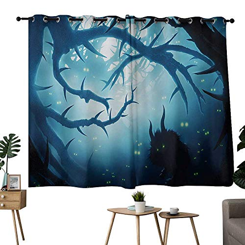 NUOMANAN Curtains Mystic,Animal with Burning Eyes in The Dark Forest at Night Horror Halloween Illustration,Navy White,Complete Darkness, Noise Reducing Curtain -