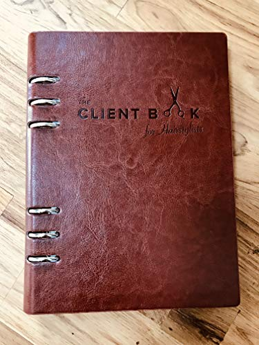 Hairstylist Client Profile Book: 70 Profile Cards, Record Formulas, Brown Leather