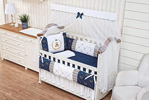 Navy Infant Teddy Bear - Royal Bear Theme Navy Blue Chevron White Baby Boy 7 Pcs Embroidered Nursery Crib Bedding Set Bumpers + Sheet Set + Changing Pad