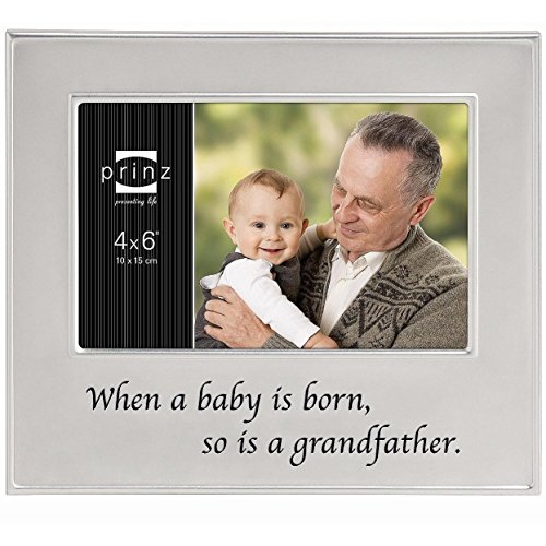 Frame Baby Pewter Finish (PRINZ A Grandfather is Born Metal Frame for 6 by 4-Inch Horizontal Photo)