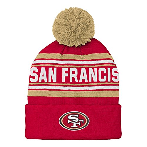 Outerstuff NFL San Francisco 49ers Kids & Youth Boys Jacquard Cuffed Knit Hat with Pom Crimson, Youth One Size