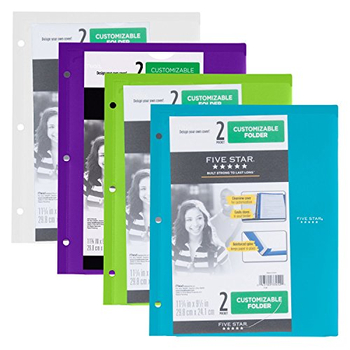 Five Star 2 Pocket Folder, Customizable Cover, Folder with Pockets, Fits 3 Ring Binder, Plastic, Teal, White, Purple, Lime, 4 Pack (38091)