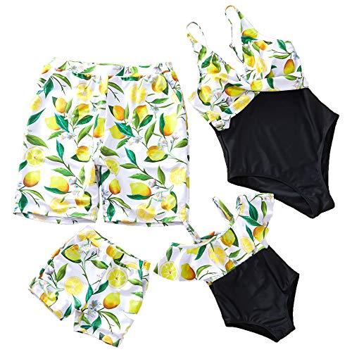 5ab86ef282 Yaffi Family Matching Swimsuit One Piece Beach Wear Lemon Printed Sporty  Monokini Bathing Swimwear