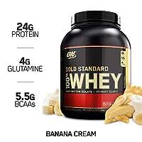 Polvo de proteína de suero de leche 100% estándar de Optimum Nutrition, crema de plátano, 5 libras