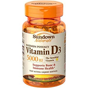 Sundown Naturals Vitamin D3 5000 IU, 150 Softgels