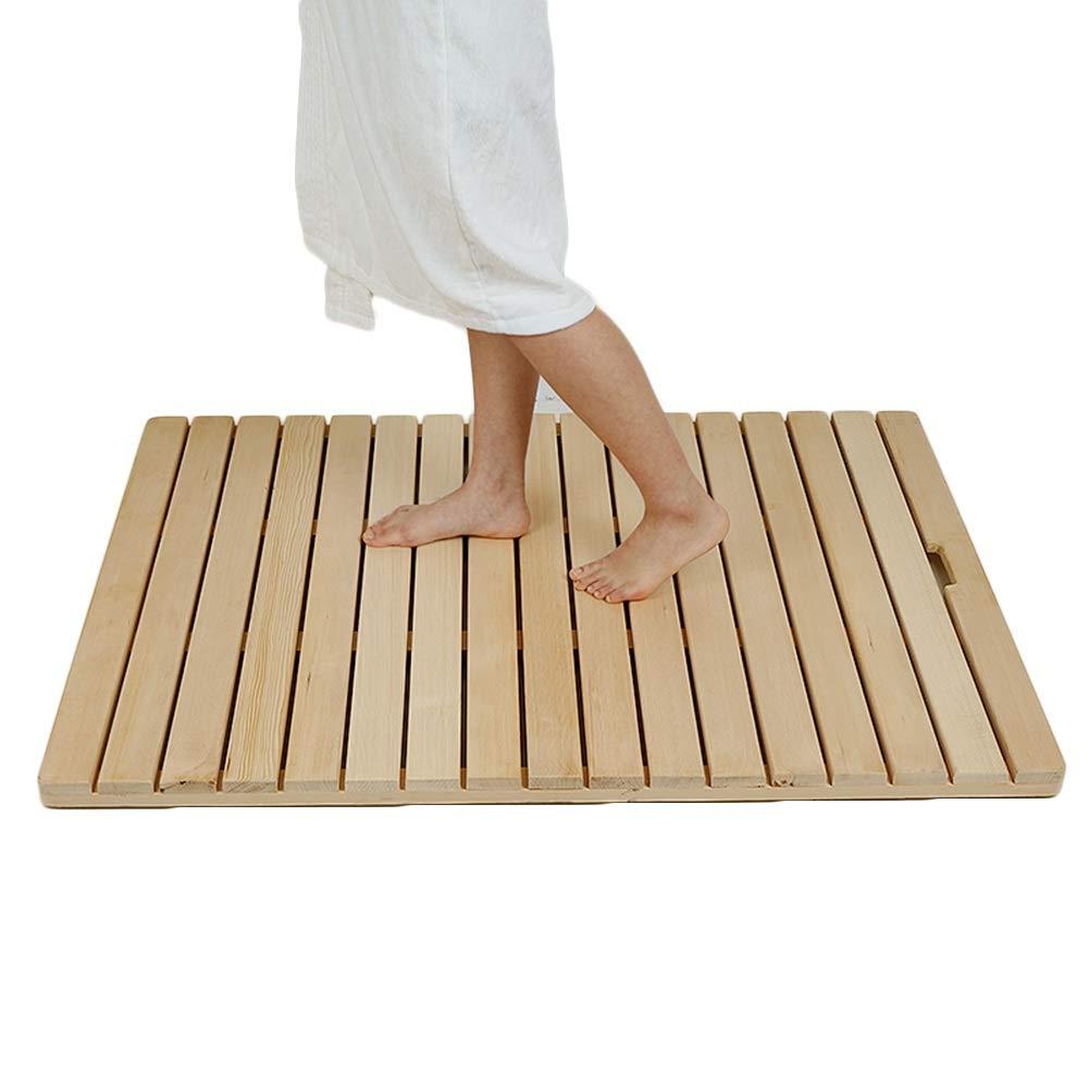 XXIOJUN Bathroom Carpet Bath Mat Non-Slip Waterproof Thick Environmental Protection Solid Wood, 8 Sizes (Color : Natural, Size : 50x30cm)