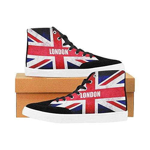 D-historien Tilpasset London Britiske Flagget Høy Topp Sko For Menn Lerret Sko Mote Sneaker