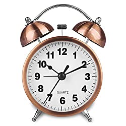 HENSE Retro Twin Bell Alarm Clock Vintage Non Ticking Bedside Morning Wake-up Clock Battery Powered Night-light Loud Alarm Clocks with Bright Copper Color HA41 (3'' # Arabic Number)