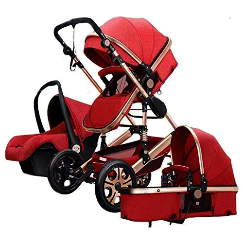 Folding Baby Stroller Travel System Pram Two-Way Shockproof Pushchair Baby Carriage Safety Infant Car Seat Lightweight Bassinet Stroller (Red)