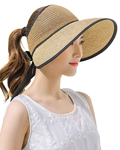 (Rollup Straw Sun Visor Foldable Wide Brim Safari Beach Hiking Travel Holiday Hat Freesize Ponytail Fashion Brown)