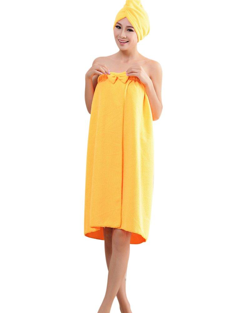 Telo da Bagno in Microfibra per Donna, con Turbante per Capelli - Asciugamano Avvolgente Tipo Pareo, per Spiaggia e Piscina Porpora OneSize