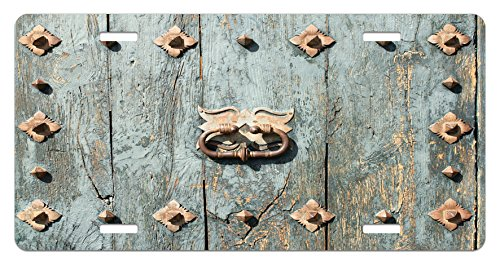 Rustic License Plate by Ambesonne, European Cathedral with Rusty Old Door Knocker Gothic Medieval Times Spanish Style, High Gloss Aluminum Novelty Plate, 5.88 L X 11.88 W Inches, Turquoise
