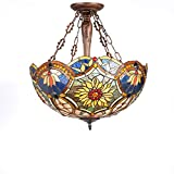 New Legend Tiffany Style Stained Glass Victorian 3-Light Inverted Large Hanging Lamp Ceiling Fixture TL16018 - 21-Inch wide