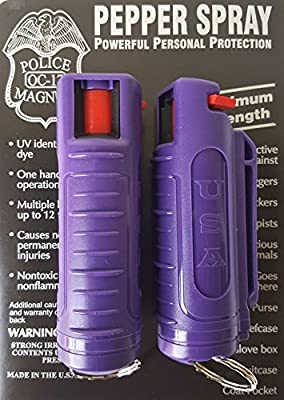 2 PACK POLICE MAGNUM MACE PEPPER SPRAY 1/2oz PURPLE INJECTION MOLDED KEYCHAIN