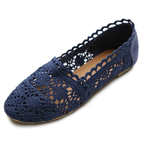 Ollio Womens Shoe Lace Ballet Breathable Flat ZM1023(7 B(M) US, Navy)