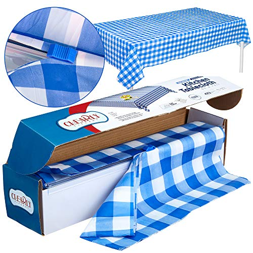Blue Gingham Picnic / Party Plastic Tablecloth Roll, Disposable Picnic colored Table cloth On a Roll With Self Cutter Box,Cut Tablecloth To Your Own Table Size,Indoor/Outdoor, By Clearly - Checker Box