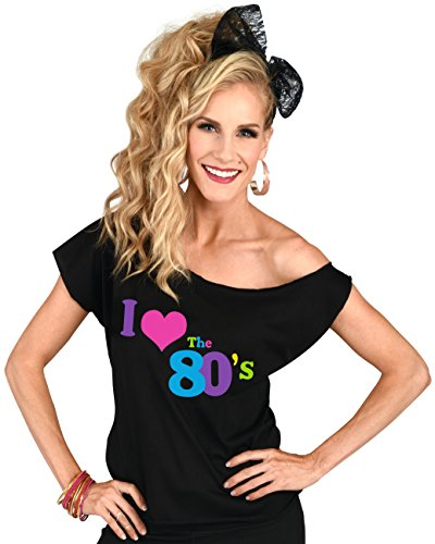 2d2275a22dc91b ... Off One Shoulder I Loveheart The 80 s Ladies T-shirt